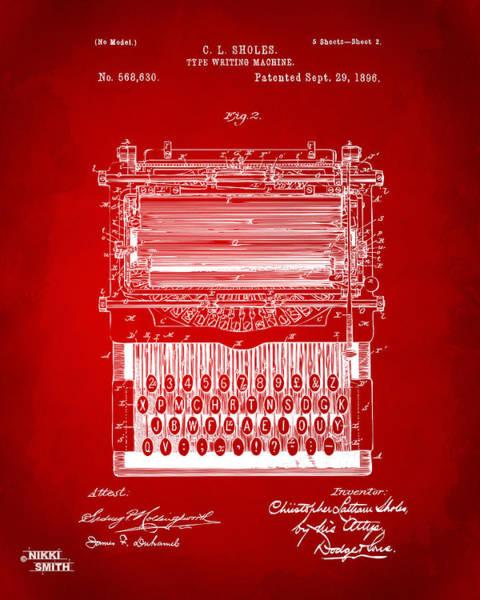 Schematic Wall Art - Digital Art - 1896 Type Writing Machine Patent Artwork - Red by Nikki Marie Smith