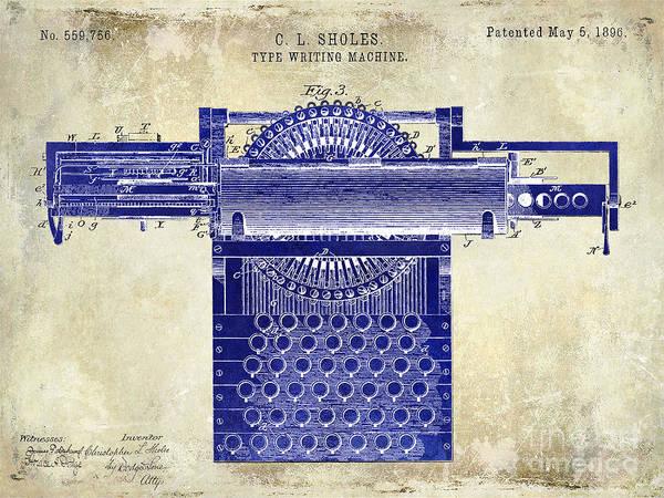 1896 Photograph - 1896 Type Writing Machine Patent Drawing Two Tone by Jon Neidert