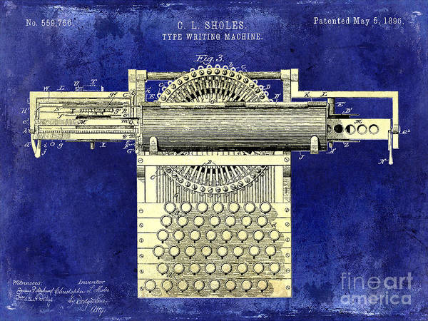 1896 Photograph - 1896 Type Writing Machine Patent Two Tone by Jon Neidert