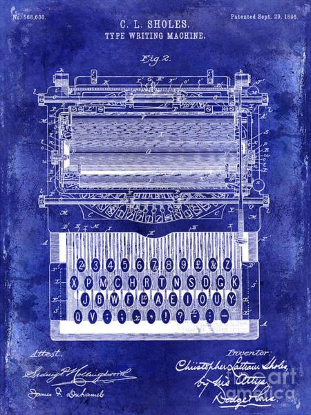 1896 Photograph - 1896 Typewriting Machine Patent Blue by Jon Neidert
