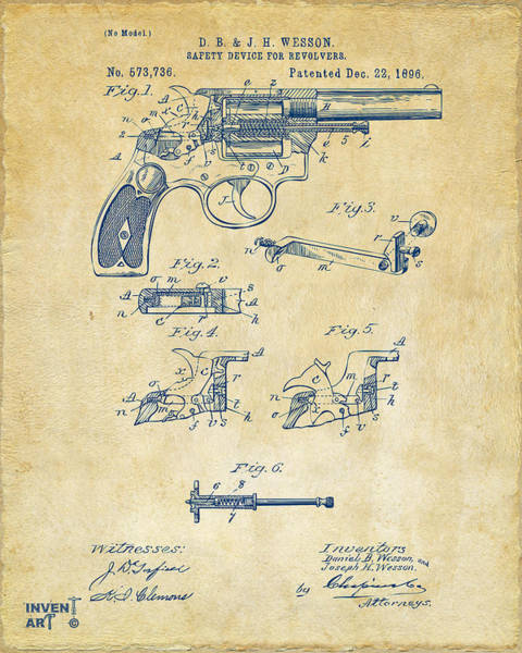 Weapons Digital Art - 1896 Wesson Safety Device Revolver Patent Artwork - Vintage by Nikki Marie Smith