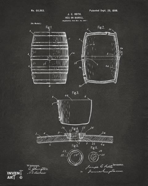 Wall Art - Digital Art - 1898 Beer Keg Patent Artwork - Gray by Nikki Marie Smith