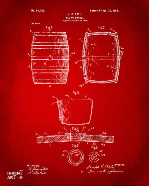 Wall Art - Digital Art - 1898 Beer Keg Patent Artwork - Red by Nikki Marie Smith