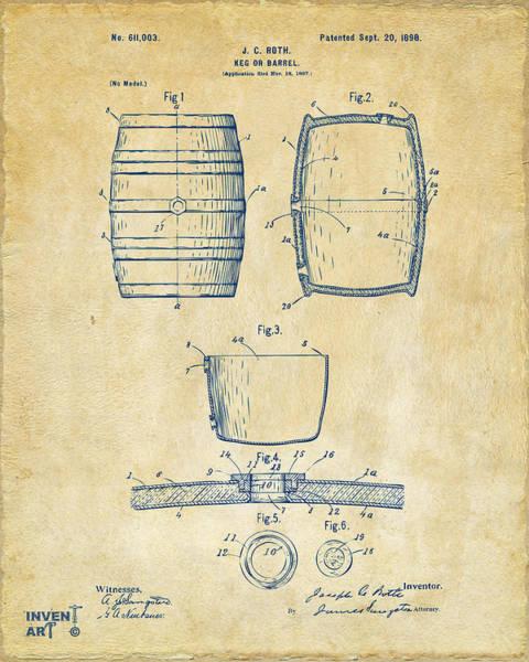 Wall Art - Digital Art - 1898 Beer Keg Patent Artwork - Vintage by Nikki Marie Smith
