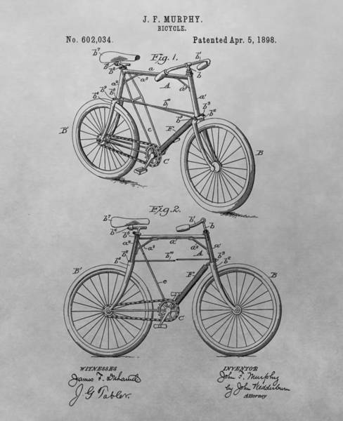 Drawing - 1898 Bicycle Patent Drawing by Dan Sproul