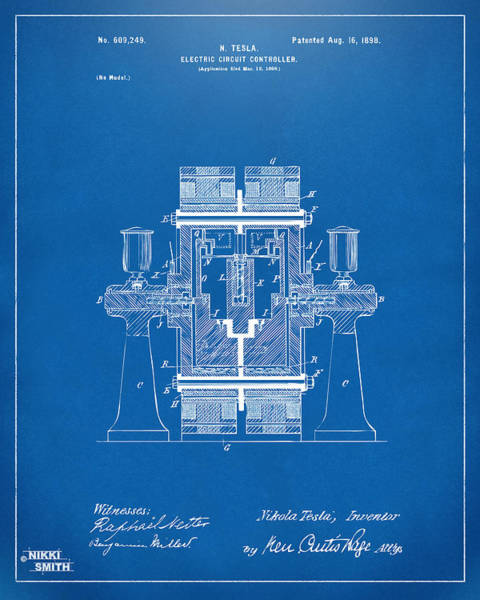 Wall Art - Digital Art - 1898 Tesla Electric Circuit Patent Artwork - Blueprint by Nikki Marie Smith