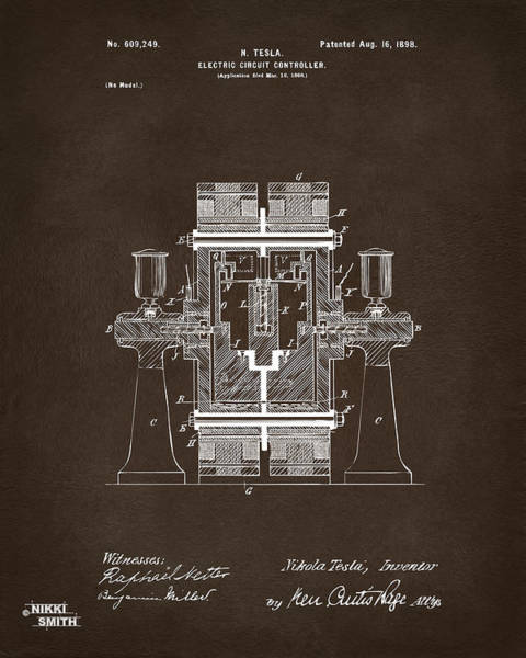 Digital Art - 1898 Tesla Electric Circuit Patent Artwork Espresso by Nikki Marie Smith