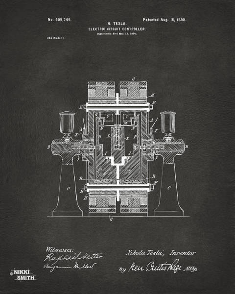 Wall Art - Digital Art - 1898 Tesla Electric Circuit Patent Artwork - Gray by Nikki Marie Smith