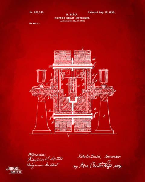 Wall Art - Digital Art - 1898 Tesla Electric Circuit Patent Artwork - Red by Nikki Marie Smith