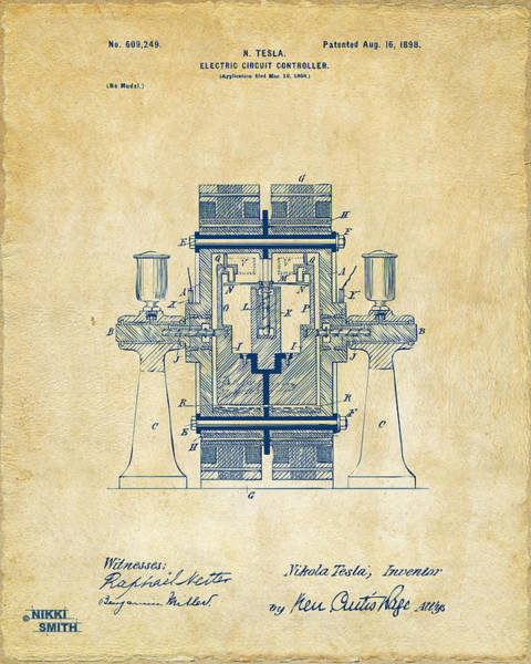Wall Art - Digital Art - 1898 Tesla Electric Circuit Patent Artwork - Vintage by Nikki Marie Smith