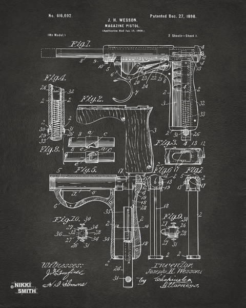 Wall Art - Digital Art - 1898 Wesson Magazine Pistol Patent Artwork - Gray by Nikki Marie Smith