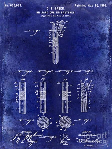 Pool Table Photograph - 1899 Billiard Cue Tip Fastener Blue by Jon Neidert