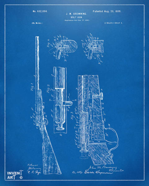 Digital Art - 1899 Browning Bolt Gun Patent Blueprint by Nikki Marie Smith