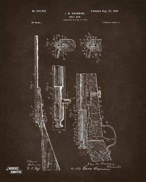 Wall Art - Digital Art - 1899 Browning Bolt Gun Patent Espresso by Nikki Marie Smith