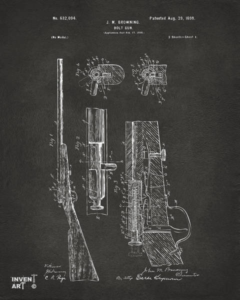 Digital Art - 1899 Browning Bolt Gun Patent Gray by Nikki Marie Smith