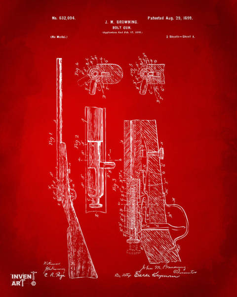 Digital Art - 1899 Browning Bolt Gun Patent Red by Nikki Marie Smith