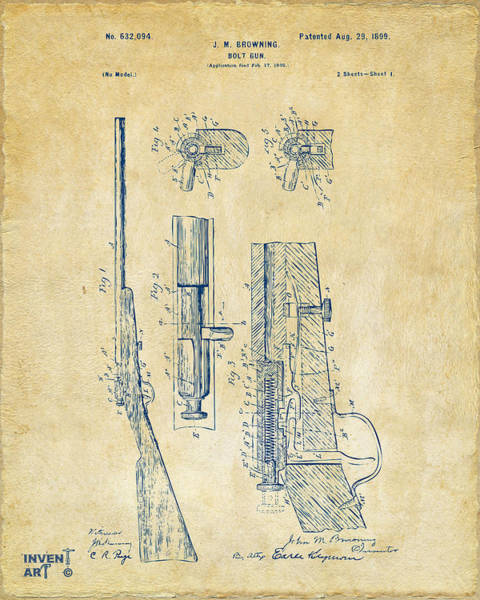 Digital Art - 1899 Browning Bolt Gun Patent Vintage by Nikki Marie Smith