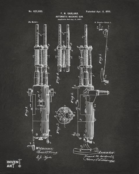 Weapons Digital Art - 1899 Garland Automatic Machine Gun Patent Artwork - Gray by Nikki Marie Smith