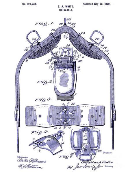 Vintage Patent Drawing - 1899 Gig Saddle Patent Drawing Blueprint by Jon Neidert