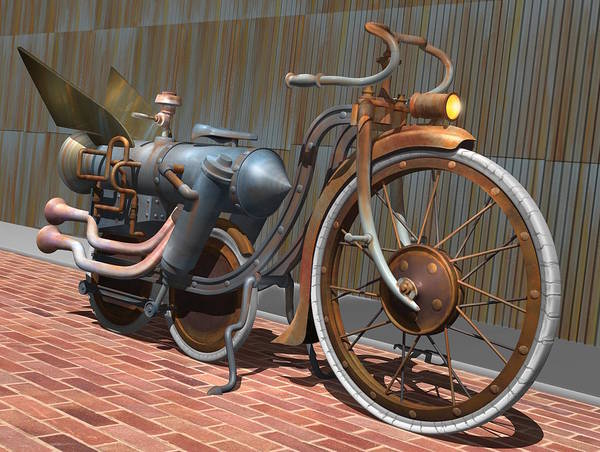 Illusion Digital Art - 1899 Inline Steam Trike by Stuart Swartz