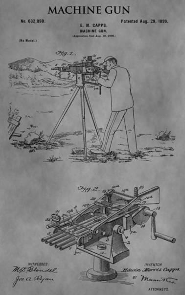 Shooting Mixed Media - 1899 Machine Gun by Dan Sproul