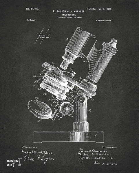 Wall Art - Digital Art - 1899 Microscope Patent Gray by Nikki Marie Smith