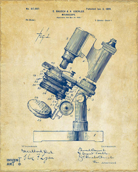 Den Digital Art - 1899 Microscope Patent Vintage by Nikki Marie Smith