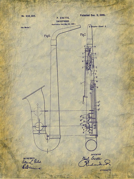 Digital Art - 1899 Paul Evette Saxophone Patent by Barry Jones