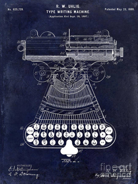 1899 Photograph - 1899 Type Writer Patent Drawing Blue 2 by Jon Neidert