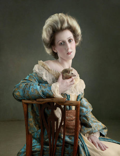 Gray Hair Photograph - 18th Century Lady Holding Hedgehog by Zena Holloway