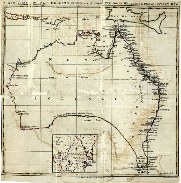 Cartography Photograph - 18th Century Map Of Australia by Library Of Congress/science Photo Library