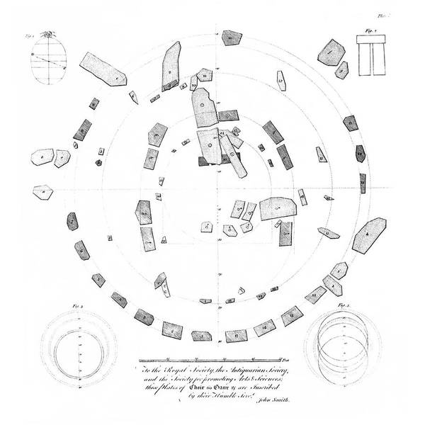 Wall Art - Photograph - 18th Century Plan Of Stonehenge by Royal Astronomical Society/science Photo Library