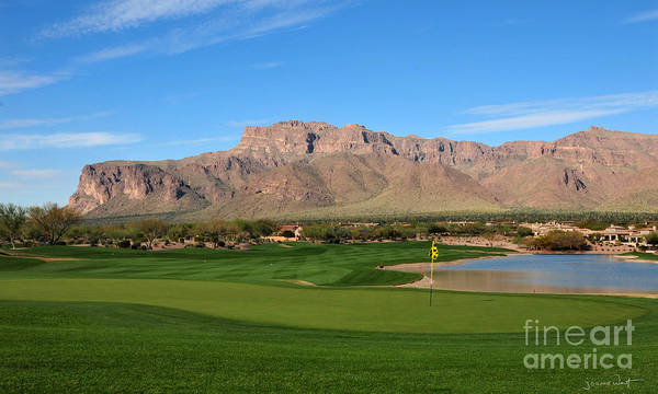 Superstition Mountains Photograph - 18th Hole Superstition Mountain Golf Club  by Joanne West