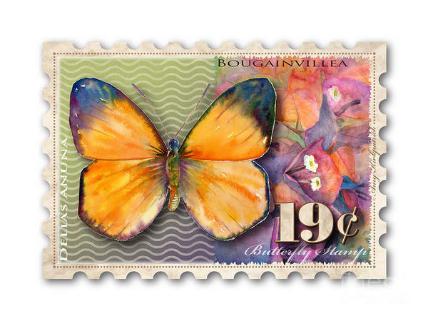Wall Art - Painting - 19 Cent Butterfly Stamp by Amy Kirkpatrick