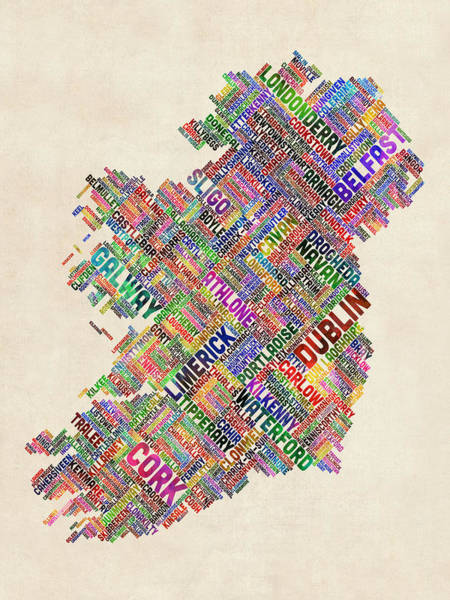 Typographic Wall Art - Digital Art - Ireland Eire City Text Map by Michael Tompsett