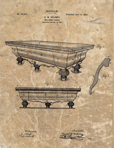 Pool Mixed Media - 1900 Billiards Table Patent by Dan Sproul