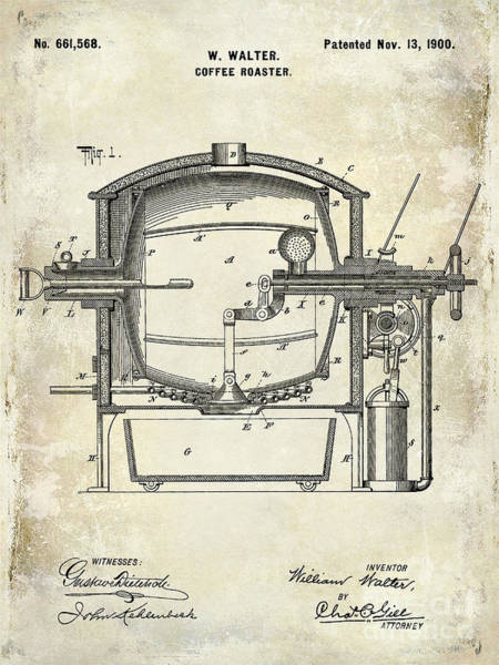 Wall Art - Photograph - 1900 Coffee Roaster Patent Drawing  by Jon Neidert