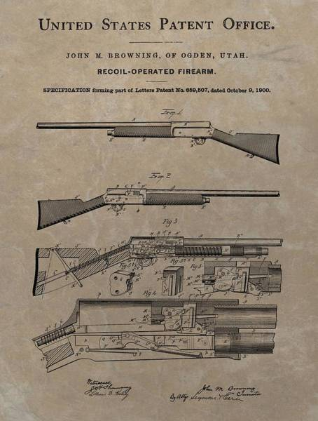 Drawing - 1900 Firearm Patent  by Dan Sproul