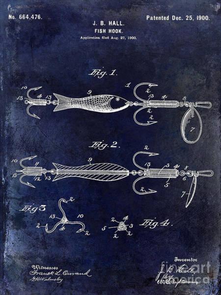1900 Fishing Hook Patent Drawing Blue Art Print