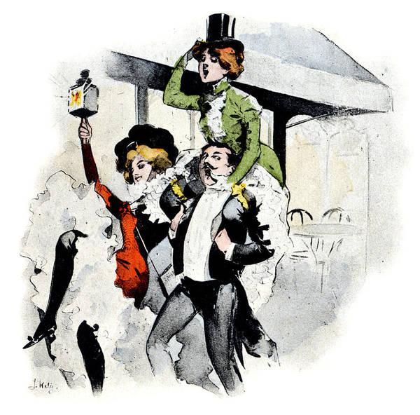 Parisian Cafe Painting - 1900 Paris Nightlife No.2 by Historic Image