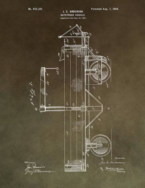 Engine Mixed Media - 1900 Truck Patent by Dan Sproul