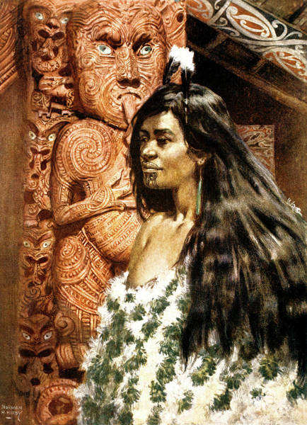 Carving Painting - 1900s 1902 Illustration Of Maori Girl by Vintage Images