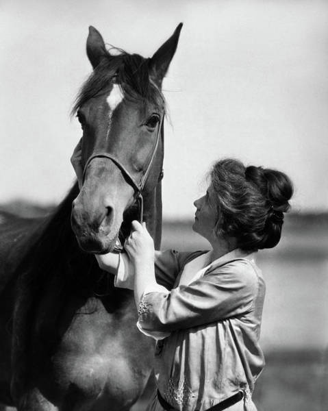 Girl And Horse Photograph - 1900s 1910s Young Woman With Upswept by Animal Images