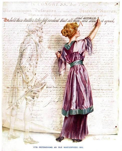 Vote Wall Art - Painting - 1900s 1915 Woman Suffragette Writing by Vintage Images