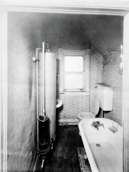 Toilet Photograph - 1900s Gas Water Heater In Narrow by Vintage Images