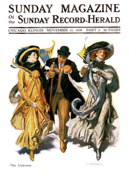 Annual Painting - 1900s Stylish Man With Two Women by Vintage Images