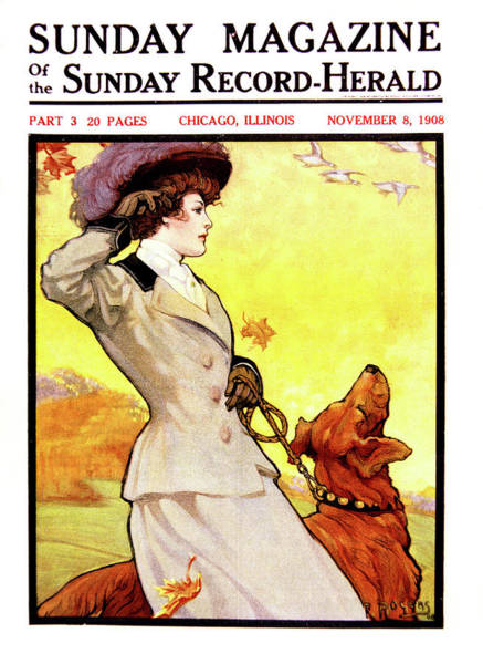 Leash Painting - 1900s Stylish Victorian Woman Autumn by Vintage Images