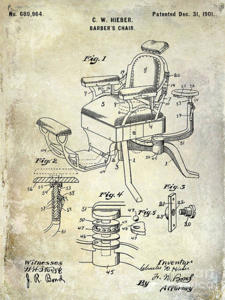 Vintage Patent Drawing - 1901 Barber Chair Patent Drawing  by Jon Neidert