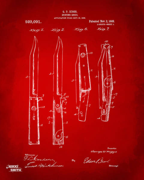 Knife Digital Art - 1901 Hunting Knife Patent Artwork - Red by Nikki Marie Smith