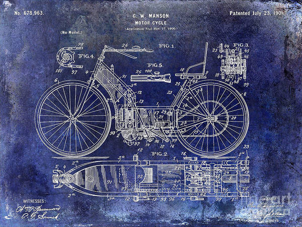 Harley-davidson Photograph - 1901 Motorcycle Patent Drawing Blue by Jon Neidert